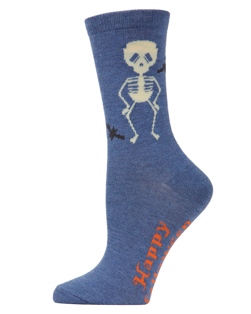 MeMoi Glow in the Dark Skeleton Socks | Halloween Novelty Socks | Fun Socks for Women | MCV04086 - Denim Heather