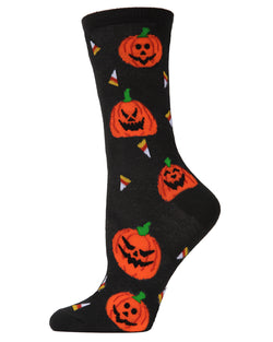MeMoi Jack O'lantern Candy Crew Socks | Fun Novelty Socks for Women | Fun Socks for women | Black MCV04088