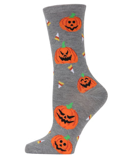 MeMoi Jack O'lantern Candy Crew Socks | Fun Novelty Socks for Women | Fun socks for women | Medium Gray Heather MCV04088