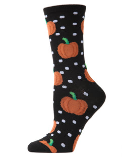 MeMoi Pumpkin Polka Dot Crew Socks | Halloween Novelty Socks | Fun socks for women | Women's Black MCV04091