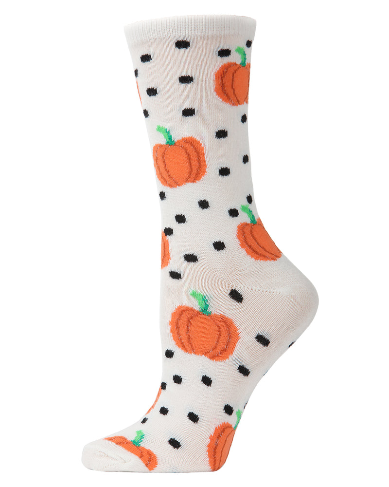 MeMoi Pumpkin Polka Dot Crew Socks | Halloween Novelty Socks | Fun socks for women | Women's White MCV04091