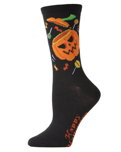 MeMoi Pumpkin Treat Crew Socks | Halloween Novelty Socks | Fun socks for Women | Women's Black MCV04092
