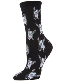 Boston Terrier Bamboo Blend Crew Socks | Fun Novelty Socks for Women | Dog Lover Socks | Black MCV04096