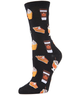 Pumpkin Spice Bamboo Blend Crew Socks Pumpkin Spice Latte & Coffee | Pumpkin Pie Novelty Socks | Black MCV04097