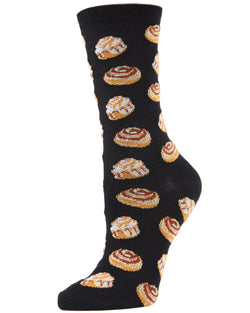 Cinnamon Bun Chocolate Bamboo Blend Crew Socks | Fun Women's Novelty Socks by MeMoi | MCV04098 Black