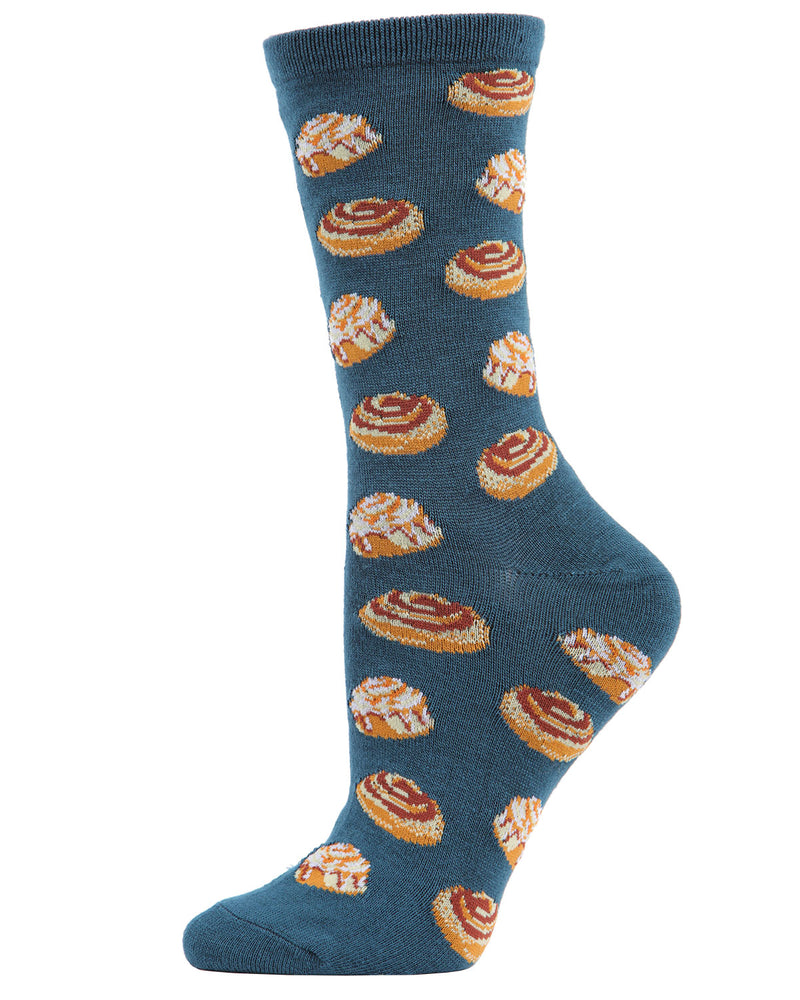 Cinnamon Bun Chocolate Bamboo Blend Crew Socks | Fun Women's Novelty Socks by MeMoi | MCV04098 - Legion Blue - 1