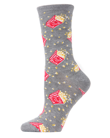 Popcorn Bamboo Blend Crew Socks | Fun Women's Novelty Socks by MeMoi | MCV04100 Black