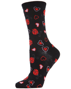 Ladybugs Bamboo Blend Crew Socks | womens novelty socks by MeMoi | womens clothing | MCV04143-00001-9-11 Black