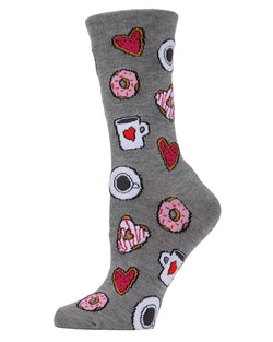 Coffee & Donuts Bamboo Blend Crew Socks | womens novelty socks by MeMoi | womens clothing | MCV04144-03003-9-11 medium gray