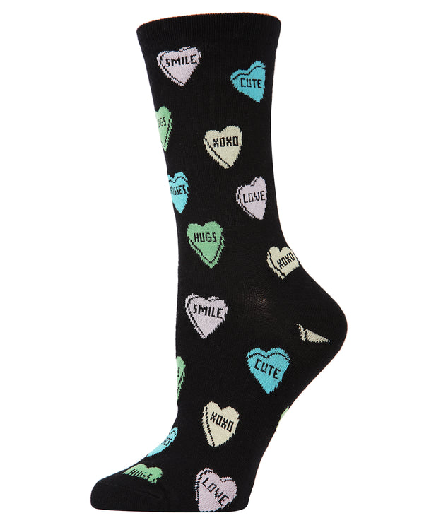 Sweet Candy Bamboo Crew Socks | Fun Novelty Socks by MeMoi® | Valentine's Day Lover Socks | MCV04145 Black
