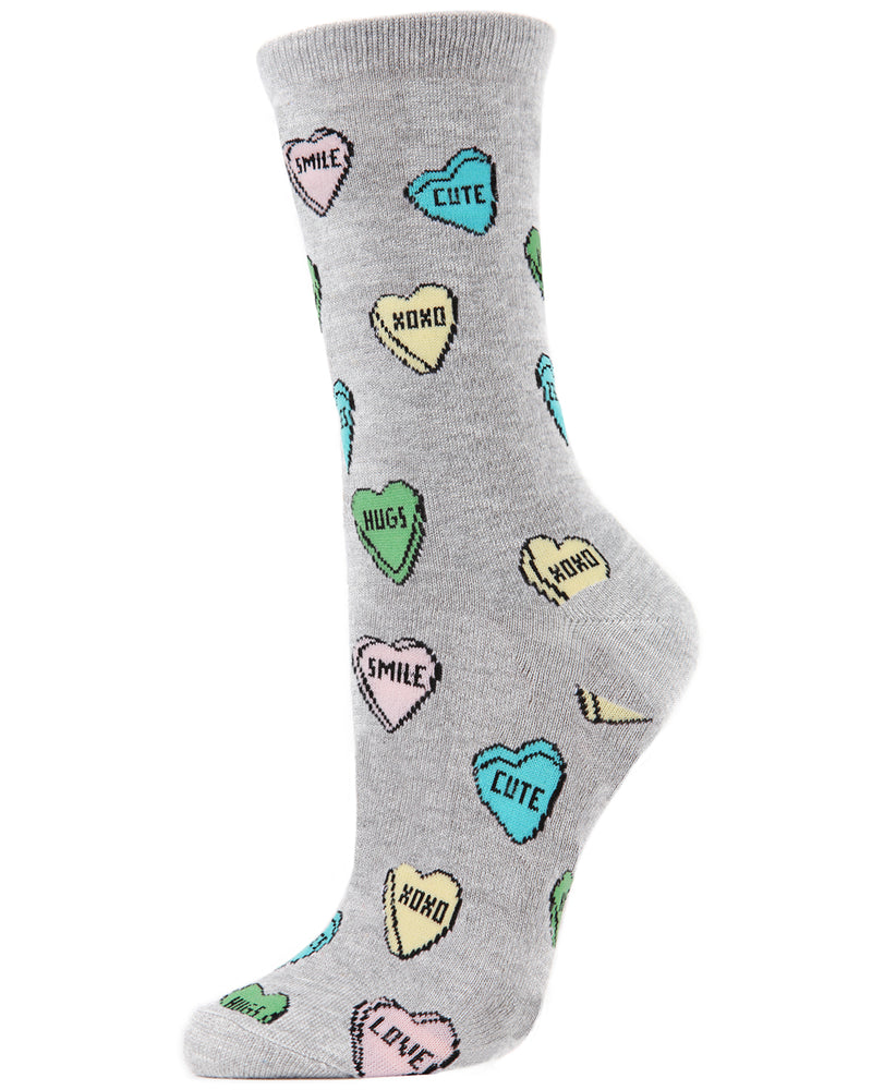 Sweet Candy Bamboo Crew Socks | Fun Novelty Socks by MeMoi® | Valentine's Day Lover Socks | MCV04145 Grey