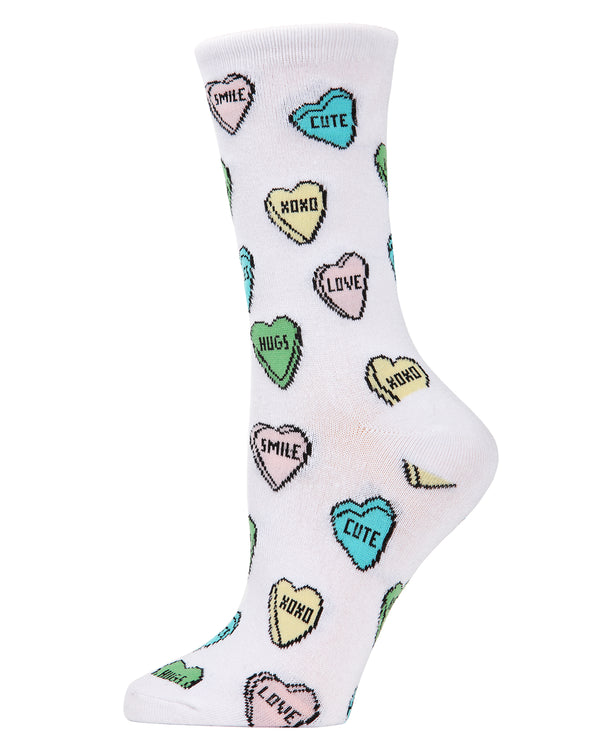 Sweet Candy Bamboo Crew Socks | Fun Novelty Socks by MeMoi® | Valentine's Day Lover Socks | MCV04145 White