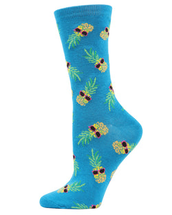 Pineapple Sunglasses Bamboo Blend Crew Socks | Fun Novelty Socks for Women | Pineapple, Sunglasses | Top, best | Teal MCV05191