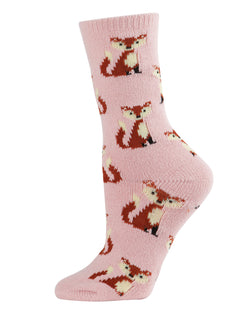 Fox Boot Socks | Fun novelty socks for Women by MeMoi | Womens clothing | MCV05529-68400-9-11 blush -1