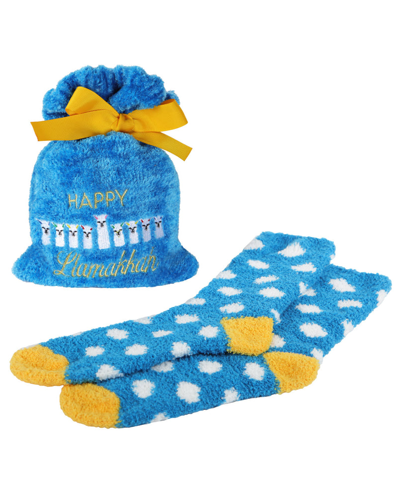 Happy Llamakkah Cozy Sock & Gift Bag Set | Women's Cozy Socks Gift Bag Set by MeMoi | MGV05555 Blue - 1