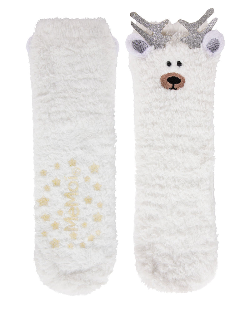 Reindeer Critter Plush Crew Socks | Fun cozy novelty socks for Women by MeMoi | Womens clothing | MCV05561-75002-9-11 white -3
