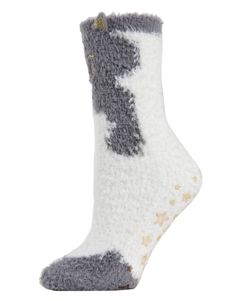 Cute Cat Critter Plush Crew Socks | Fun novelty socks for Women by MeMoi | Womens clothing | MCV05562-02004-9-11 Gray -2