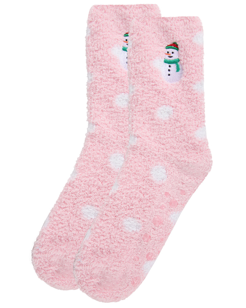 Polka Dot Snowman Embroidery Cozy Socks  | christmas novelty plush sockcs for Women | womens clothing |  MCV05679-69004 pink -3