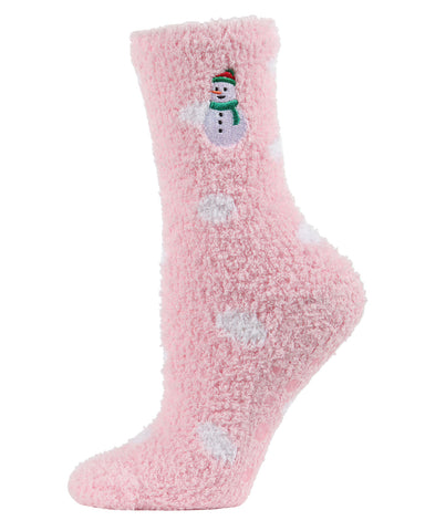 Polka Dot Snowman Embroidery Cozy Socks  | christmas novelty plush sockcs for Women | womens clothing |  MCV05679-69004 pink -1