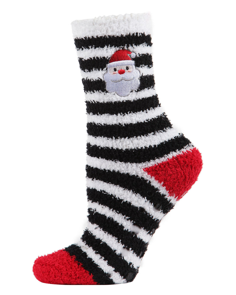 Striped Santa Embroidery Cozy Socks  | christmas novelty plush sockcs for Women | womens clothing |  MCV05682-00001 black -1