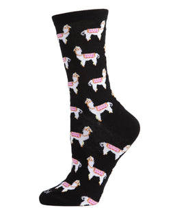 Llamas Bamboo Blend Crew Socks | Fun novelty socks for Women by MeMoi | Womens clothing | MCV05724-00001-9-11 black -1