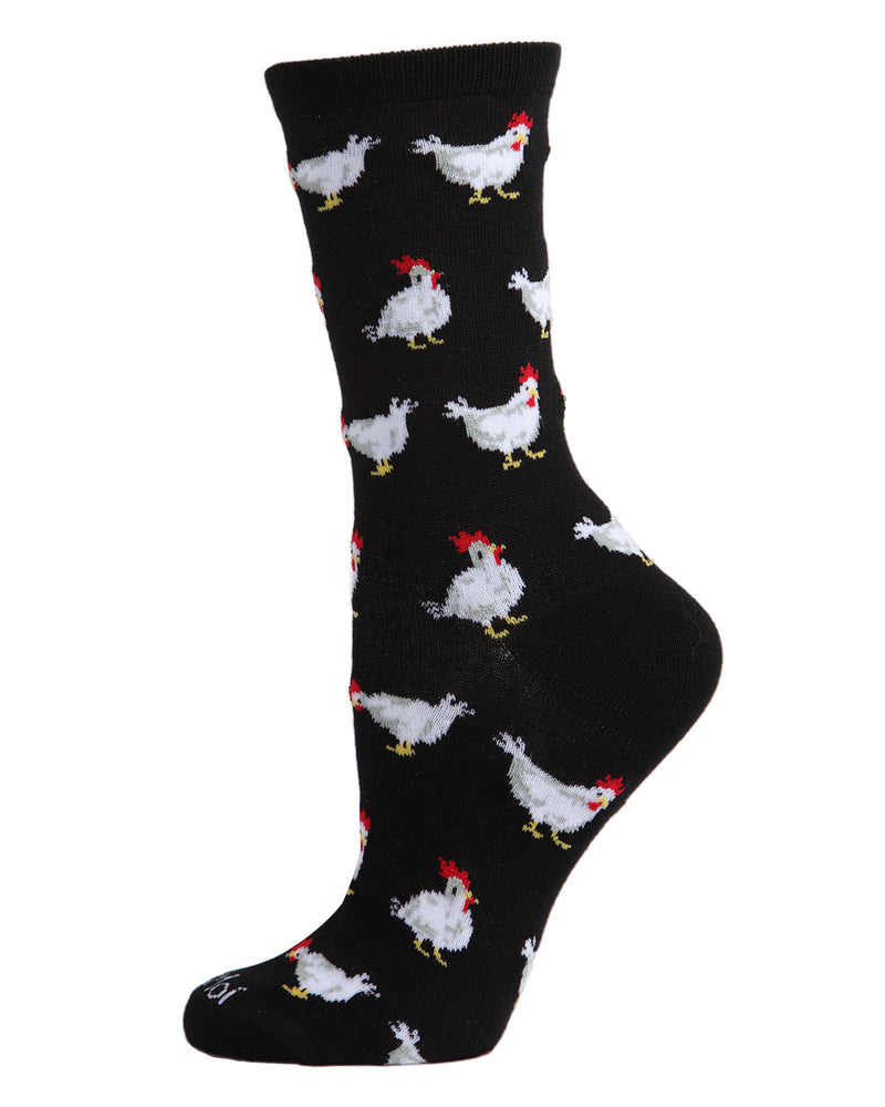 Chickens Bamboo Blend Crew Socks | Fun novelty socks for Women by MeMoi | Womens clothing | MCV05727-00001-9-11 Black -1