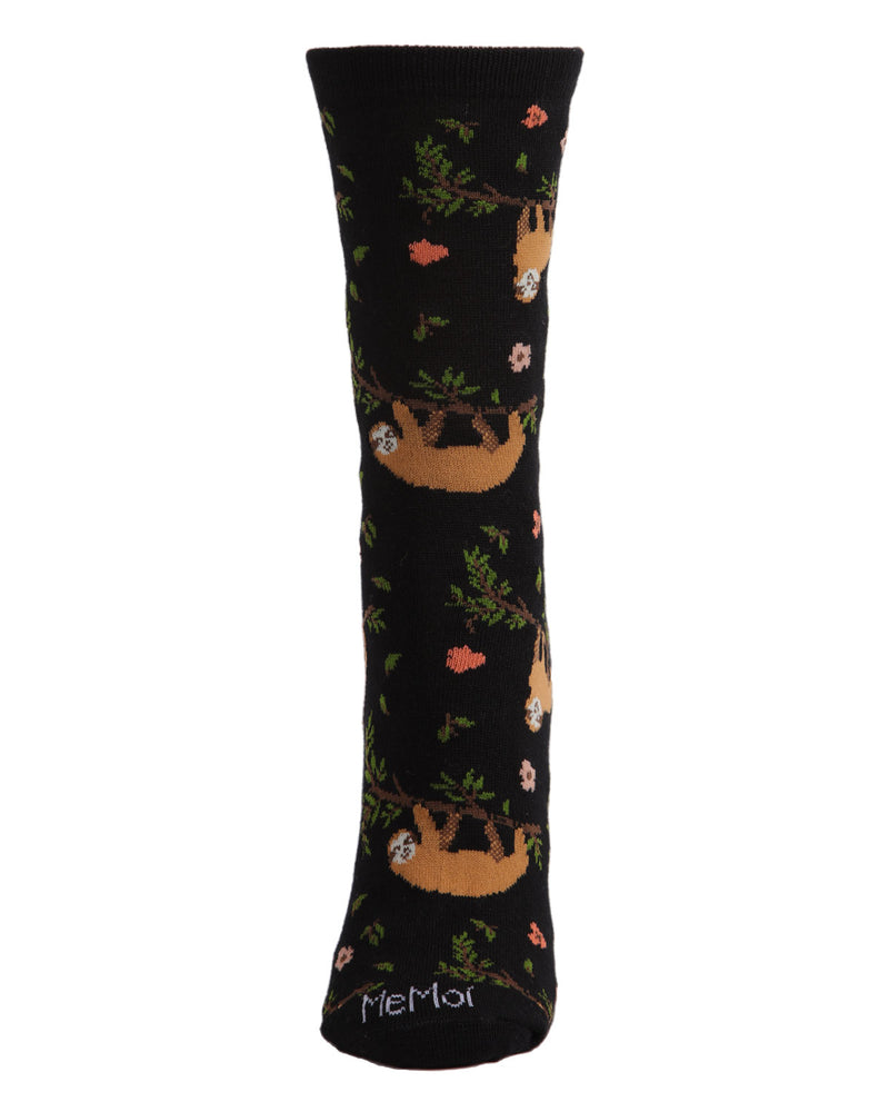 Sloth Bamboo Blend Crew Socks | Fun womens Novelty socks by MeMoi | womens clothing | MCV05731-00001-9-11 black -2