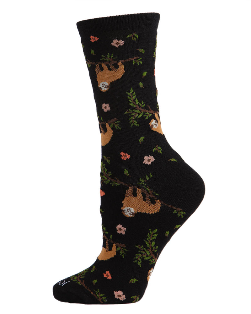 Sloth Bamboo Blend Crew Socks | Fun womens Novelty socks by MeMoi | womens clothing | MCV05731-00001-9-11 black -1