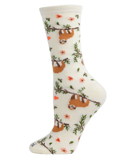 Sloth Bamboo Blend Crew Socks | Fun womens Novelty socks by MeMoi | womens clothing | MCV05731-11050-9-11 white marshmallow -1