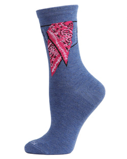 Bandana in Pocket Bamboo Blend Crew Socks | Fun womens Novelty socks by MeMoi | womens clothing | MCV05732-40802-9-11 blue denim heather -1