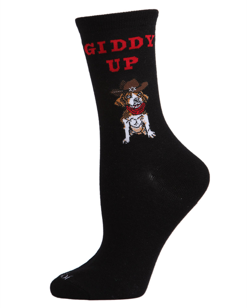 Giddy Up Pup Bamboo Blend Crew Socks | Fun womens Novelty socks by MeMoi | womens clothing | MCV05733-00001-9-11 Black -1