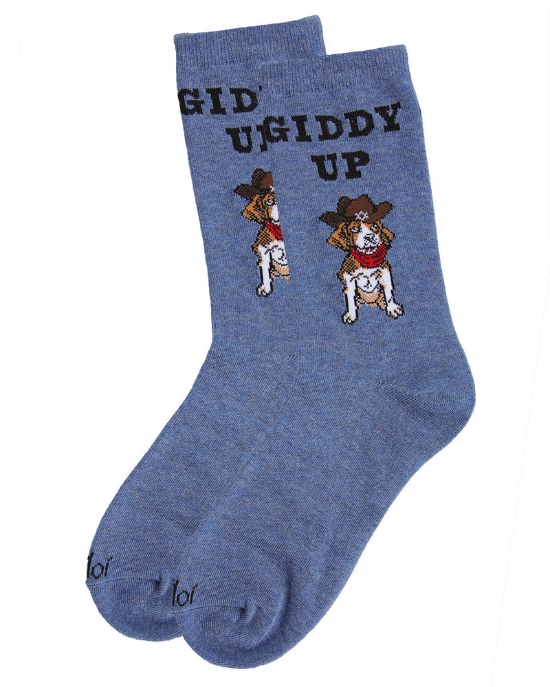 Giddy Up Pup Bamboo Blend Crew Socks | Fun womens Novelty socks by MeMoi | womens clothing|MCV05733-40802-9-11 Blue denim heather -3