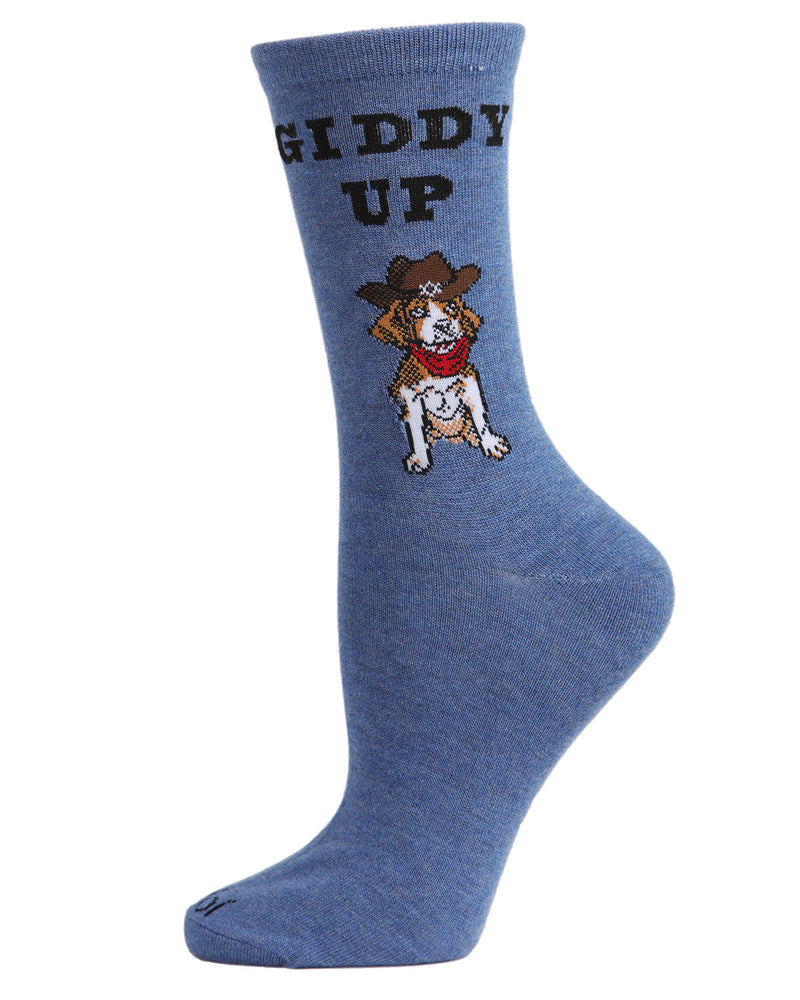 Giddy Up Pup Bamboo Blend Crew Socks | Fun womens Novelty socks by MeMoi | womens clothing|MCV05733-40802-9-11 Blue denim heather -1