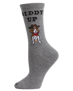 Giddy Up Pup Bamboo Blend Crew Socks | Fun womens Novelty socks by MeMoi | womens clothing| MCV05733-03003-9-11 Medium Gray heather -1