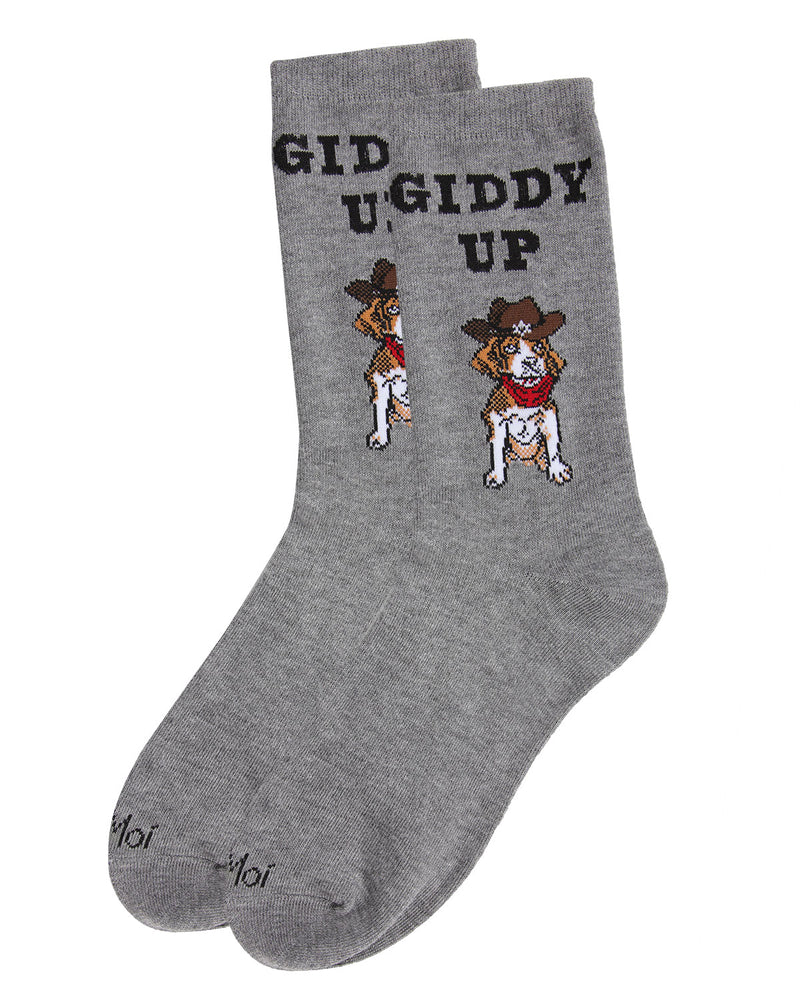 Giddy Up Pup Bamboo Blend Crew Socks | Fun womens Novelty socks by MeMoi | womens clothing| MCV05733-03003-9-11 Medium Gray heather -3