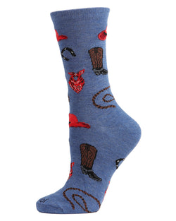 Western Theme Bamboo Blend Crew Socks | Fun womens Novelty socks by MeMoi | MCV05735-40802-9-11 blue denim heather  -1