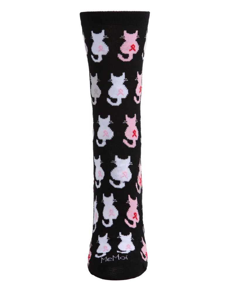 🎗️ Breast Cancer Awareness :  Pink Cat Ribbon Socks | Pink Ribbon Socks for Women | Breast Cancer Ribbon Socks | Women, Girls, Mom, Wife, Daughter | Cat, Kitten | Black MCV05737 -2