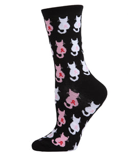 🎗️ Breast Cancer Awareness :  Pink Cat Ribbon Socks | Pink Ribbon Socks for Women | Breast Cancer Ribbon Socks | Women, Girls, Mom, Wife, Daughter | Cat, Kitten | Black MCV05737