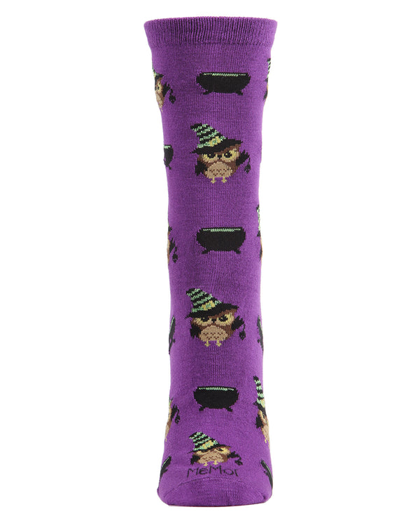 Witchy Owl Holiday Crew Socks | Fun Women's Novelty Socks by MeMoi | Halloween Socks| Imperial Purple MCV05779 - 2