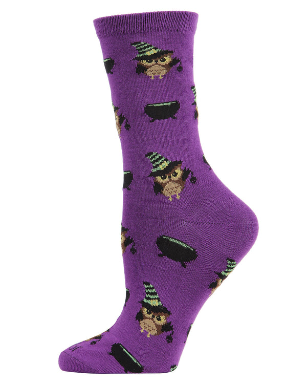Witchy Owl Holiday Crew Socks | Fun Women's Novelty Socks by MeMoi | Halloween Socks| Imperial Purple MCV05779 - 1