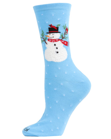 Snowman & Bird Holiday Crew Socks | Christmas Socks for women | Great Christmas Gifts under $10 | Blue  MCV05790