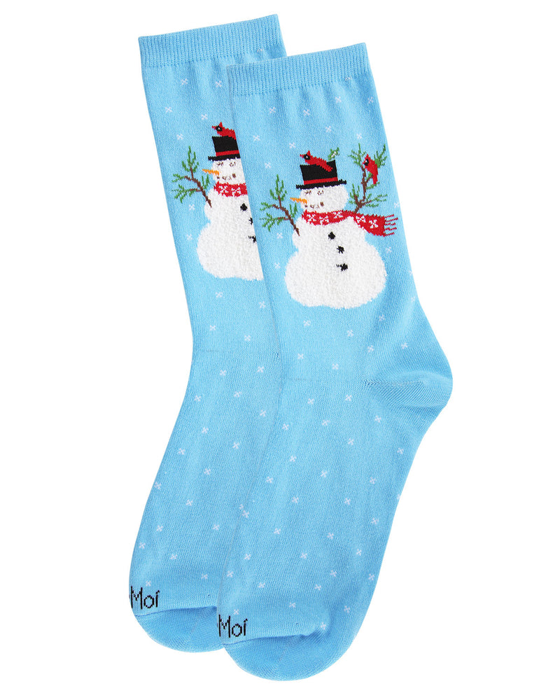 Snowman & Bird Holiday Crew Socks | Christmas Socks for women | Great Christmas Gifts under $10 | Blue  MCV05790 -3