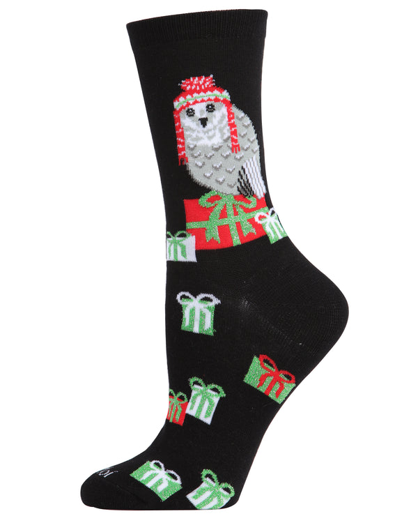Snow Owl Holiday Crew Socks | Christmas Socks for women | Great Christmas Gifts under $10 | Black MCV05782
