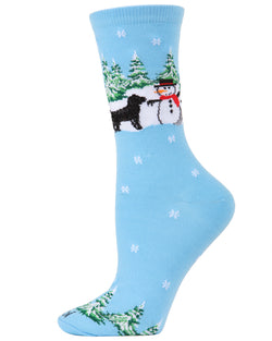 Dog & Snowman Christmas Holiday Crew Socks | Christmas Socks for women | Great Christmas Gifts under $10 | Blue MCV05783