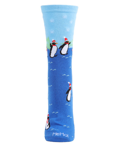 Penguins Holiday Crew Socks | Christmas Socks for women | Great Christmas Gifts under $10 | Stocking Stuffers | Black MCV05784