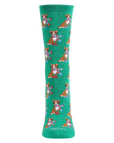 Cozy Cat Holiday Crew Socks| Christmas Socks for women | Great Christmas Gifts under $10 | Stocking Stuffers | Green MCV05789