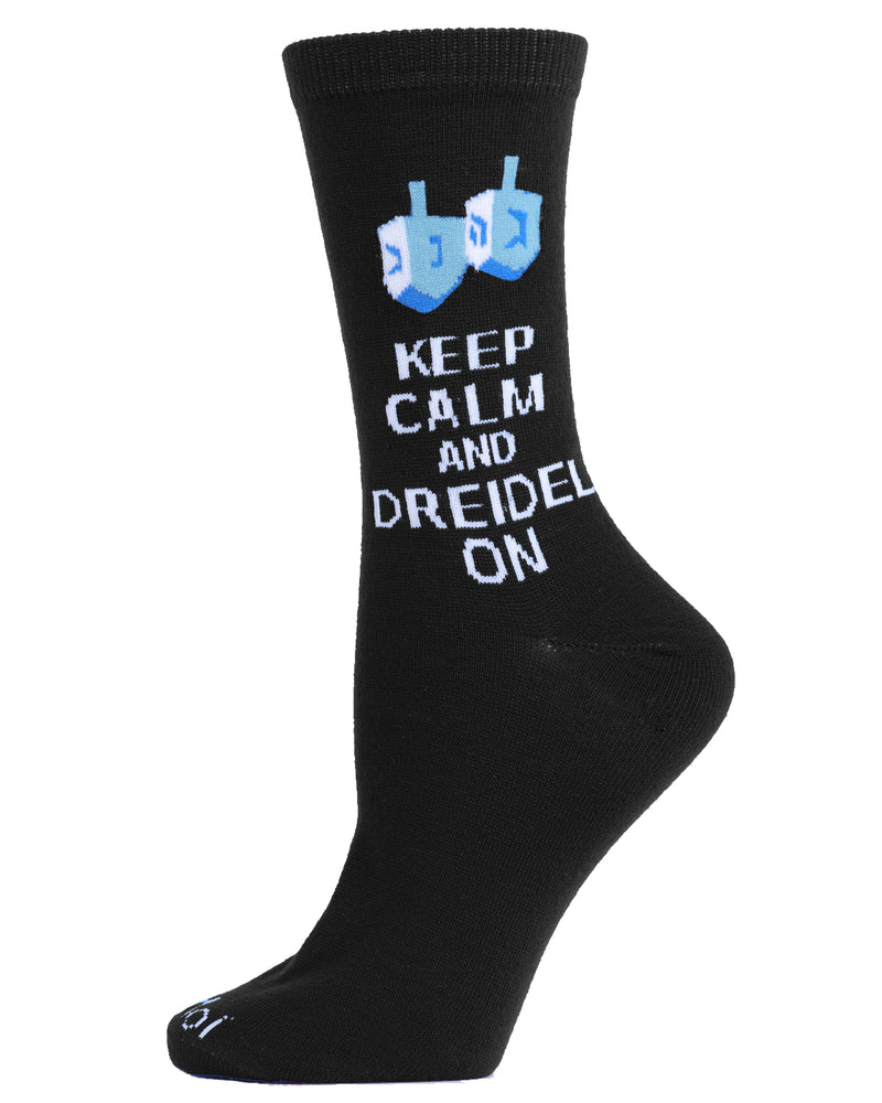Keep Calm Dreidel On Holiday Crew Socks | mens novelty socks by MeMoi | mens clothing | MCV05791-00001-9-11 Black -1