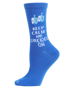 Keep Calm Dreidel On Holiday Crew Socks | mens novelty socks by MeMoi | mens clothing | MCV05791-40000-9-11 Blue -1
