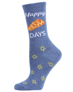 Happy Challah Days Holiday Crew Socks | womens novelty socks by MeMoi |womens clothing | MCV05792-40802-9-11 blue -1