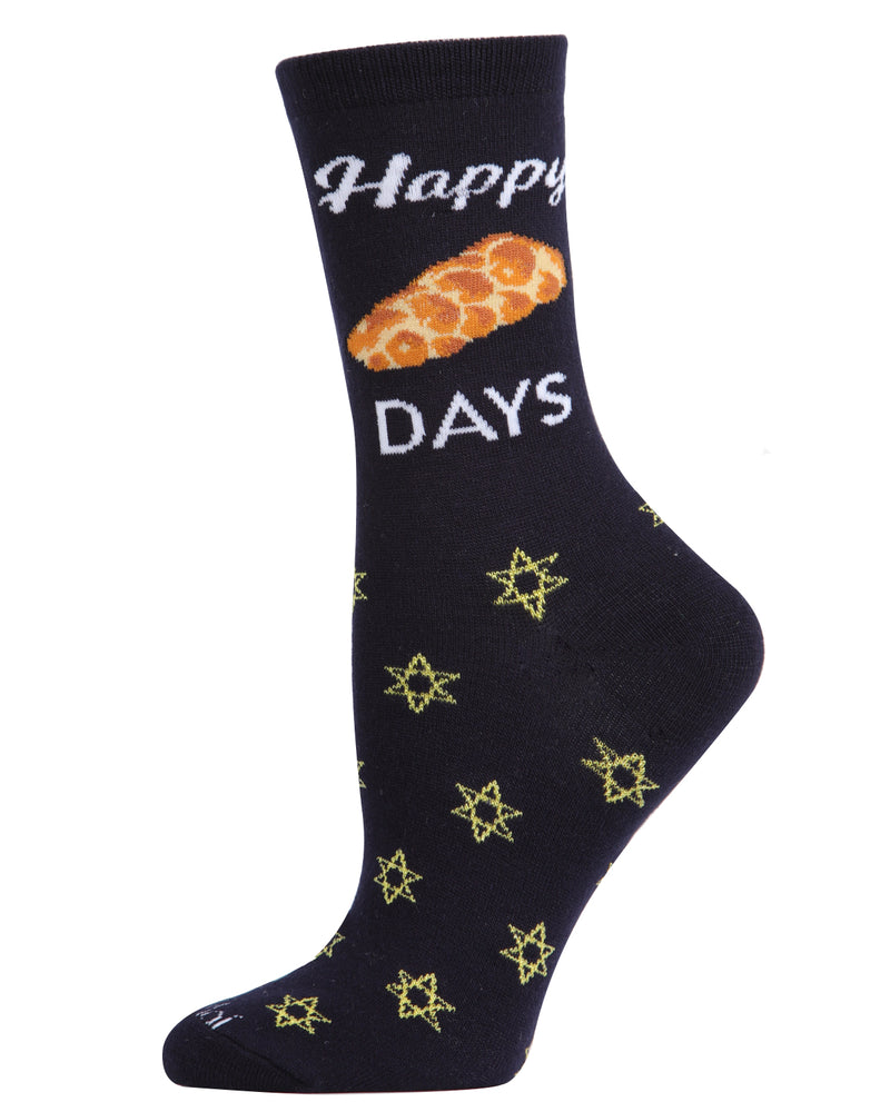 Happy Challah Days Holiday Crew Socks | womens novelty socks by MeMoi |womens clothing | MCV05792-40121-9-11 navy -1
